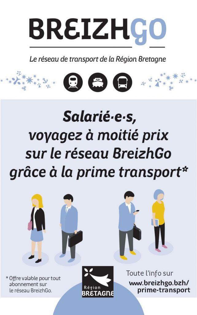 Le voyage à moitié prix pour les salarié(e)s avec la prime de transport sur le réseau BreizhGo