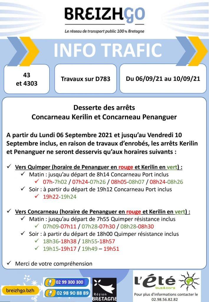 """La mairie de Concarneau réalise des travaux d'enrobés sur la D783, du lundi 6 au 10 septembre. Par conséquent les  arrêts """"Kerilin"""" et """"Penanguer"""" modifient leurs horaires. Merci de votre compréhension"""