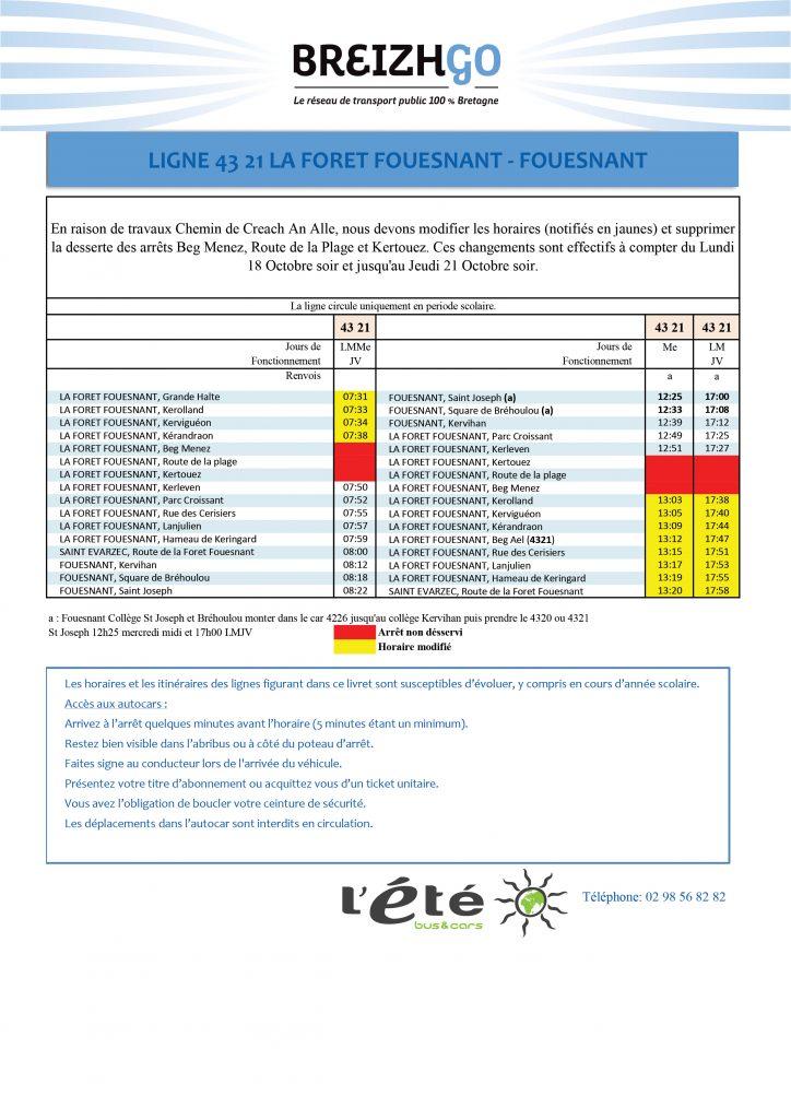 Chers usagers, nous vous informons que nous modifions les horaires et supprimons la desserte des arrêts Beg Menez et Kertouez. En raison de travaux qui débuteront le lundi 18 octobre et se poursuivront jusqu'au jeudi 21 octobre au soir.