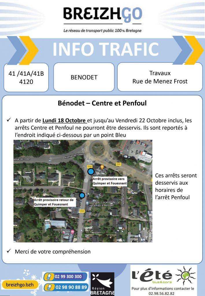 , nous modifions les points d'arrêts de vos lignes Breizhgo 41, 41AetB et 4120, en raison de travaux à Bénodet. Merci de vous reporter sur l'arrêt provisoire situé en Bleu sur la carte.