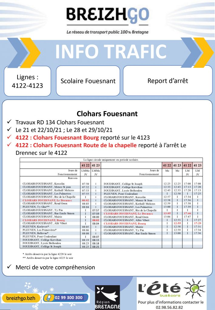 En raison de travaux sur la route départementale 134 à Clohars Fouesnant, nous reportons les arrêts des lignes Breizhgo 4122 et 4123